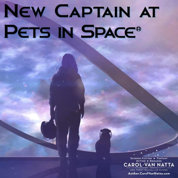 Welcome to Pets in Space. Silhouette of a woman and a pet facing a spaceship window that shows a galaxy, with the words New Captain at Pets in Space